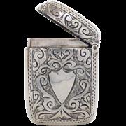 Antique Victorian c1896 Small Sterling Silver Vesta Case by Adie & Lovekin