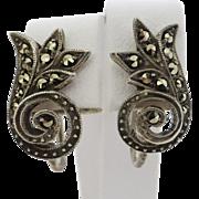 Vintage c1930 Sterling Silver Marcasite Earrings in Scrolling Organic Design
