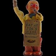 "SALE VINTAGE WIND UP CLOWN ""EAT AT JOE'S"""