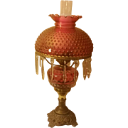 SALE Vintage Cranberry Table Lamp with Hobnail Shade