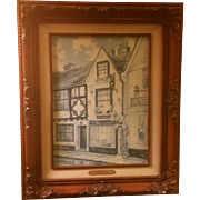 SALE Signed Marty Bell Print on Canvas Titled Swan Cottage Tea Rooms, Rye