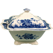 Antique WEDGWOOD Flow Blue Large Covered Soup  Chapoo Tureen and ladle