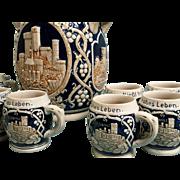 SALE Antique Dümler&Breiden HOHR German Stoneware Tureen Punch Bowl Beer Stein Castle