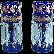 2 Antique Bohemian 19th Century Cobalt Blue Enamel Glass Lustres Enamel Gold