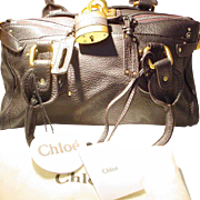 Vintage Chloe Ladies Tote Purse -- Dark Chocolate Fine Leather -- Brand New Never Used
