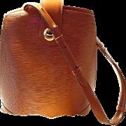 Vintage Louis Vuitton EPI Cluny Shoulder Bag - EPI Leather Orange Brown/ Brown Suede - Used -