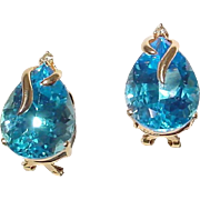 Simply Beautiful Blue Topaz Earrings w/ Diamonds 14 KT Yellow Gold - Great Stones Clear & ...