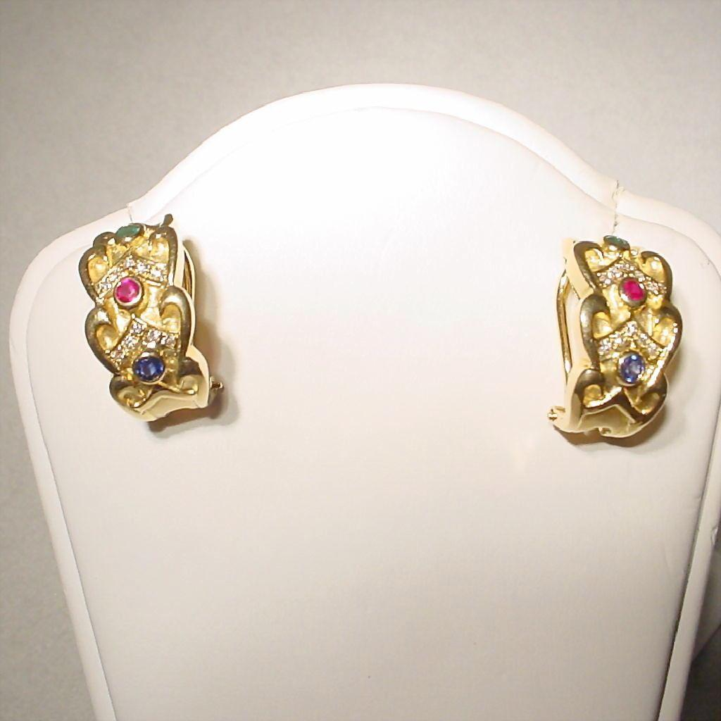 victorian chic multi gem earrings 18 kt yellow gold