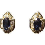Blue Sapphire & Diamond Earrings 14 KT Yellow Gold - Studs of Small Art Deco Style - Adorable
