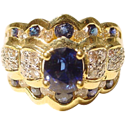 SALE Lovelace Victorian Charm Blue Sapphire Diamond Ring 18 KT Yellow Gold - Spectacular ...