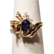 SALE Blue Sapphire Ring with Diamonds 14KT Yellow Gold Fine Stones - Lovely Flower -Vintage