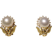 South Seas Pearl Earrings w/ Diamonds 18 KT Yellow Gold - Two Toned - Silver Pearls Round ...