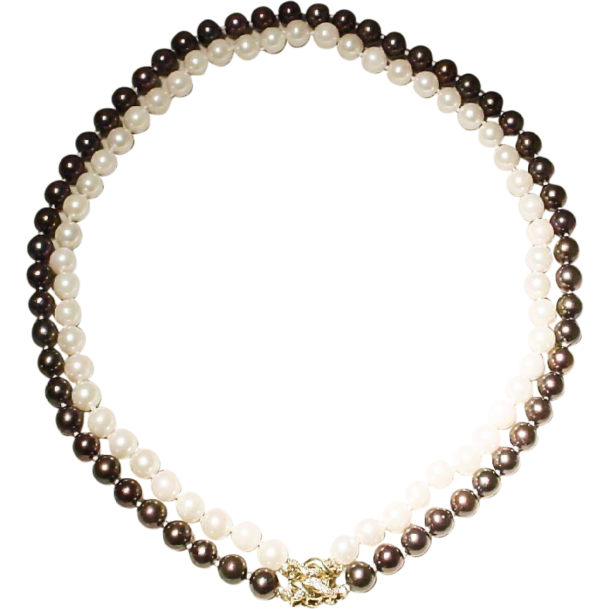 versatile set cultured akoya pearl necklace with 14kt