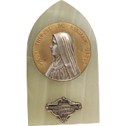 Vintage French Saint Therese of Lisieux Onyx Religious Plaque Souvenir