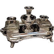 Elegant Double Inkwell Candleholder Pen Tray Silver Plate Victorian