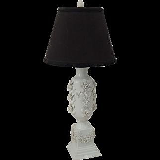 Tall Vintage White Rose Floral Porcelain Lamp / White Table Lamp