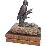 Vintage French Metal Bird and Marble Bookend Art Deco Decorative Bird Statue Vintage Collectib