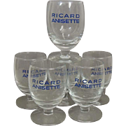 Vintage Set of 6 French Ricard Pastis Anisette Glasses / Ricard Goblets / Bistro Cafe / French