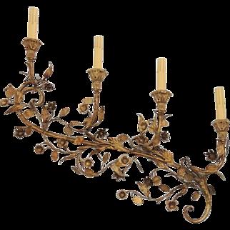 "Vintage Pair Large Gold Gilt Italian Florentine Wall Sconces / 32"" Gold Gilt 4 Light Sconces / Electrified Wall Sconces / Metal Sconces / Floral Sconces"