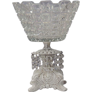 Vintage Glass Bowl With Prisms / Glass Bowl and Pedestal / Glass Compote With Dangling Crystals