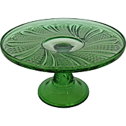 SOLD 1896 - Early American Pressed Glass (EAPG) Emerald Green Cake Stand in Feather Pattern