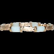 Vintage 9 carat yellow gold alternating Jade Cabochon Bracelet
