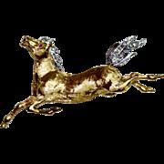 18 Carat gold Horse Diamond Brooch
