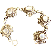 Antique Sterling Silver Moon stones Bracelet and Earrings  SOLD