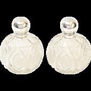 Pair Crystal & Sterling Perfume Bottles, 19th-Century, England