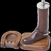 Antique Equestrian Boot Match Striker & Ashtray