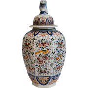 Large Delft Ginger Jar with Foo Dog Finial