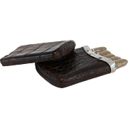 Sterling Silver Mounted Crocodile Skin Cigar Case, 1886