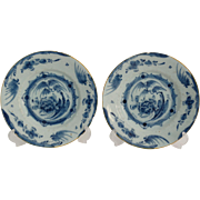 18th-Century Dutch Delft Chinoiserie Plates, Pair