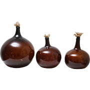 Antique French Hand Blown Amber Demijohns