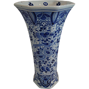 Hexagonal Delft Blue & White Vase w/ Birds