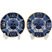 18th-Century Delft Peacock Plates, Blue and White, Near Pair