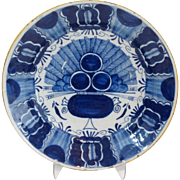18th-Century Delft Peacock Platter