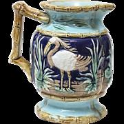 Antique English Cobalt Majolica Pitcher w/Shorebirds