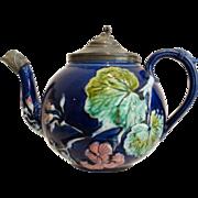 Cobalt Majolica Teapot w/Pewter, 19th-Century English