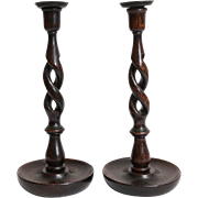 19th-Century Pair English Oak Open Twist Candlesticks
