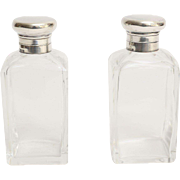 Crystal & Sterling Perfume Bottles, Pair