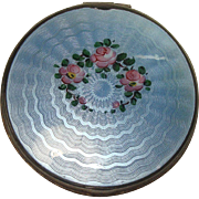 SALE Vintage Guilloche Rose and Leaf Compact