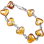 SALE Sterling Floral and Resin Heart Shaped Bracelet