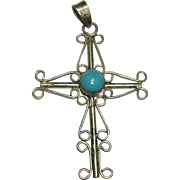 SALE Large Sterling Filagree Cross with Faux Turquoise Cabochon