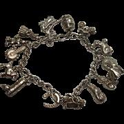SALE Sterling 14 Charms Charm Bracelet