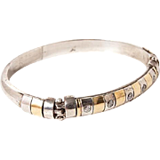 Vintage sterling silver and gold bangle bracelet with cubic zirconia