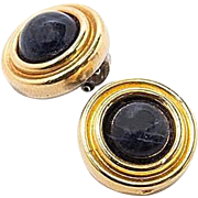 Vintage sterling silver and gold authentic Lalaounis clip earrings with lapis lazoulis