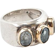 Vintage sterling silver and gold 14K ring with blue topaz