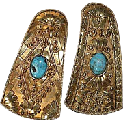 Vintage sterling silver-gold plated filigree earrings with turquoise