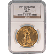 American 1907 High Relief $20 Gold Coin Flat Rim NGC MS 65